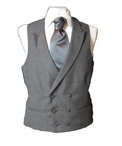 dark grey pure wool double breasted waistcoat